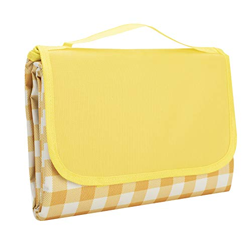 Gosure Outdoor Picnic Blanket,Foldable Outdoor Beach Blanket,Waterproof,Sand proof,Machine Washable,Slip Resistant With With Carrying Handle for Family,Beach,Park,Hiking,Camping (Yellow, 150*200 CM)