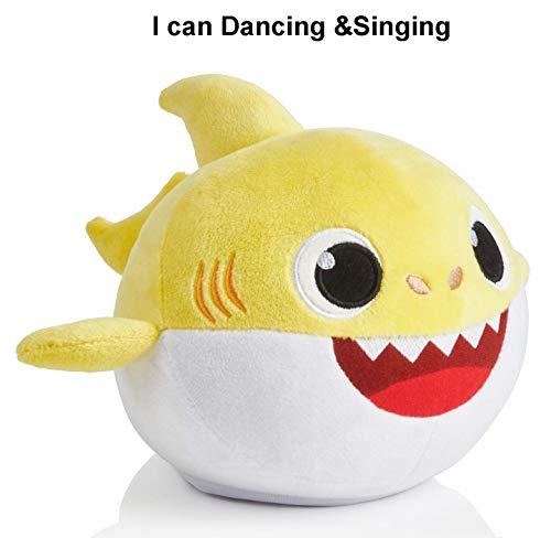 Baby Shark Canto y Luz Juguetes de Peluche Muñeca de Felpa Suave de Tiburón Regalos y Juguetes para Niños Bebé de Dibujos Animados de Tiburón de Peluche de Juguete con 3 Colores (Yellow)