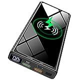 Batterie Externe sans Fil 15W 10000mAh PD 20W Chargeur Portable, Power Bank QC 3.0 Charge Rapide avec 2 Entrées et 4 Sorties (Qi et USB C) avec Affichage LED pour Smartphones Tablettes et Autres