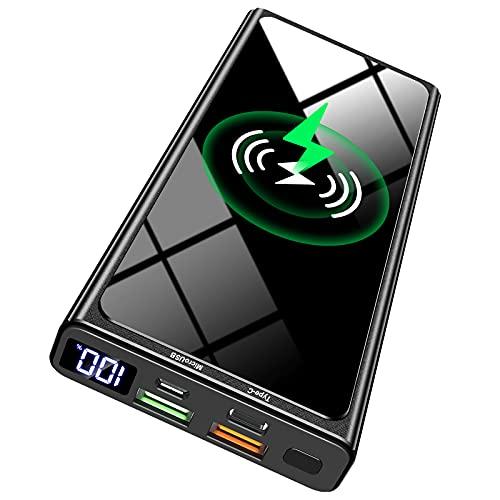 Wireless Powerbank, 22.5W PD20W QC 3.0 LED Display 10000mAh Externer Akku mit Tragbares Schnellladegerät, 2 Eingängen und 4 Ausgängen (Qi & USB C) für iPhone Samsung Huawei iPad Tablet Airpods usw