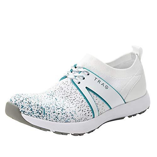Alegria TRAQ Qool Womens Smart Walking Shoe White Multi Wide 7 M US