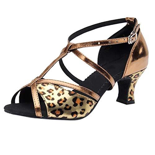 Damen Peep Toe Damen Standard Latein Tanzschuhe mit Leoparden Druck,Frauen Ballsaal Salsa Tango Tanzen Schuhe Hochzeit Abendschuhe Knöchelriemen