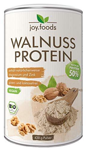 joy.foods Bio Walnussprotein, 50{f3a4d016e481627133a5e817f226e83e6515766095030b4054457282dc823a9d} Eiweiß, rein pflanzliche Proteinquelle, laborgeprüfte Qualität, 420 g
