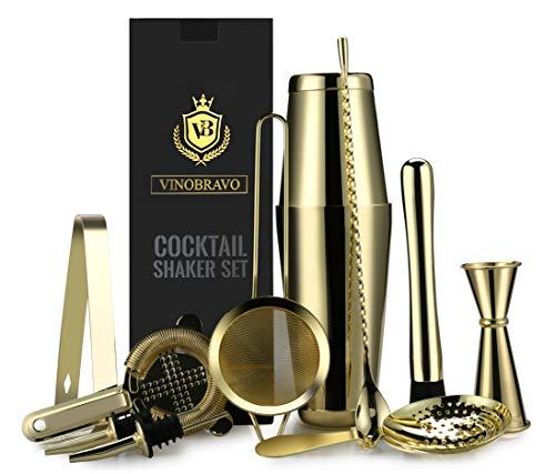 12-Piece Bartender Kit Boston Cocktail Shaker Bar Set by VinoBravo : 2 Weighted Shaker Tins, Strainer Set, Double Jigger, Bar Spoon, Ice Muddler & Tong, 2 Liquor Pourers & Recipe Guide (Gold)