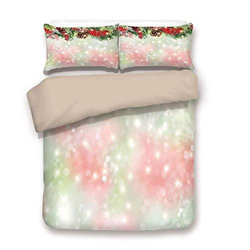 Bettbezug-Set, Weihnachten, immergrüne Tannenzweige mit roten reifen Stechpalmenbeeren verwischt Hintergrund Girlande dekorativ, rot grün braun, dekorativ 3 Stück Bettwäsche-Set von 2 Pillow Shams Twi