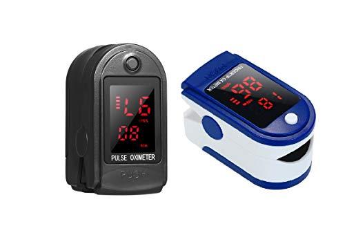 Anself 2PCS Tester della Punta delle Dita Mini Dispositivo di misurazione per Lettura Rapida, Nero + Blu