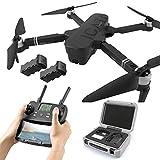 5G WiFi FPV Drone, Drones GPS Plegables para Adultos, con cámara 4K HD ESC, 120 Grados;Cuadricóptero RC Drone de Gran Angular con 2 baterías modulares y Luces LED destacadas (Color: Negro)