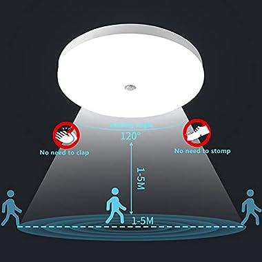Plafonnier LED Rond 30W 3000LM 6500K Lampes de Plafond avec détecteur de mouvement Ultra-mince LED Lampe Imperméable IP56 Lum