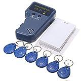 Dongbin 125 kHz fotocopiatrici RFID ID, palmare ID Card Reader Writer duplicatore + 6 Pezzi Portachiavi + 6 Pezzi keycards,Blu