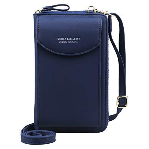 Jangostor Femmes Portefeuille Sac À Bandoulière En Cuir Porte Monnaie Téléphone Portable Mini Pochette Porte Carte Épaule Portefeuille Sac (blue)