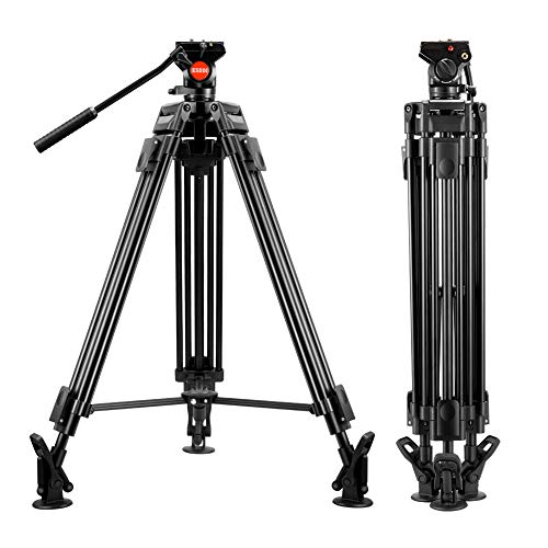 ESDDI Video Stativ 64 inch/162 cm VT-60 Professionelles Schwerlaststativ Aluminium Stativ mit Fluid Videoneiger, maximale Last 11.02 Lbs/ 5 Kg, DSLR, Videokamera, Gewicht: 8.7 Lbs/3.95 Kg