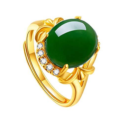 VALICLUD Anillo de jade verde, chapado en oro, antiguo, ovalado, elegante, anillo de dedo (verde)