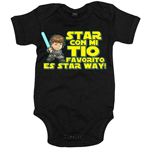 Body bebé Star con mi tio favorito es Star Way parodia Luke Skywalker - Negro, 6-12 meses