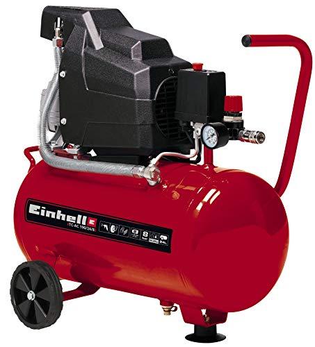 Einhell Kompressor TC-AC 190/24/8 (max. 8 bar, 24 l-Tank, Ölschmierung, Druckminderer, Manometer + Schnellkupplung, Rückschlag-/Sicherungsventil, Standfuß mit Gummipuffer)
