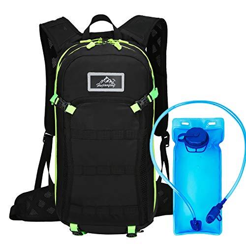 Mochila de hidratación de 15L, vejiga de Agua sin BPA de 2L, Mochila de Ciclismo Mochila de Montar Mochila de Bicicleta Transpirable Ligero para Viajar Montañismo(Verde)