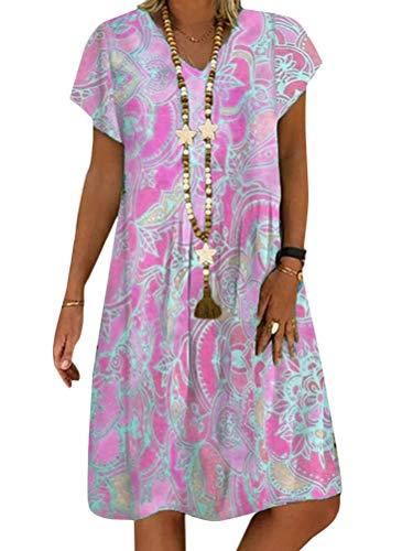 Minetom Mujer Vestido Casual Manga Corta Swing Vestidos Floral V Cuello Una Linea por la Rodilla Dress C Rosa 50