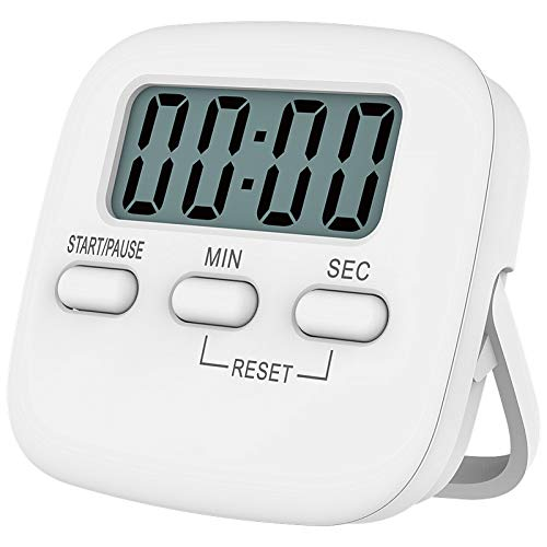 Niaguoji Minuteur de cuisine magnétique avec grand écran LCD, avec chronomètre, alarme puissante et compte à rebours, Blanc