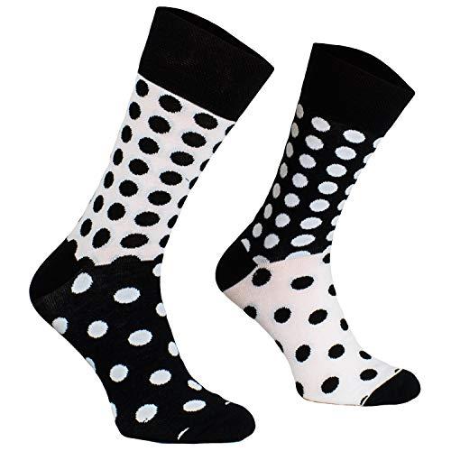 Comodo - witzige Punkte Socken für Damen und Herren aus Baumwolle|Freizeitsocken mit lustigem Motiv/Muster|Verschiedene Paare|Motivsocken für Kinder und Erwachsene SM1 gr 39-42 Dots schwarz/weiß