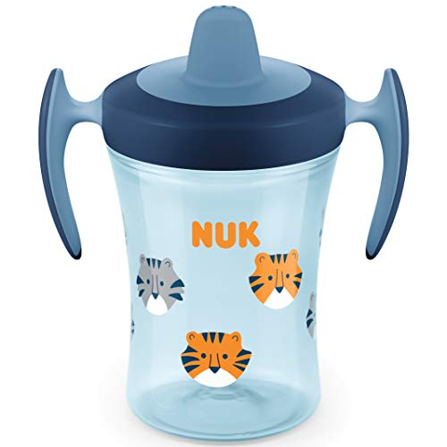 NUK Trainer Cup Trinklernbecher, weiche Trinktülle, auslaufsicher, 6+ Monate, BPA-frei, 230ml, Tiger (blau)