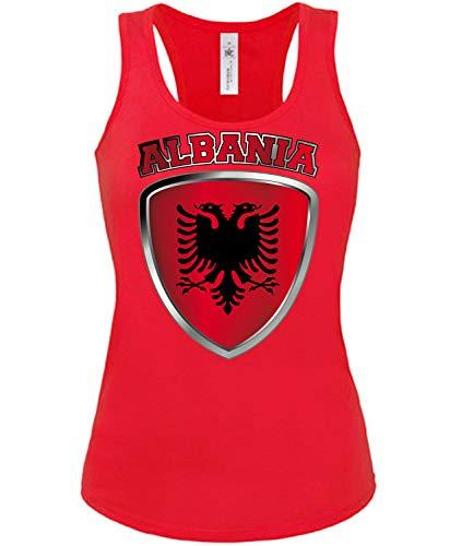 Albanien Albania Shqipëri Fussball Fußball Trikot Look Jersey Fanshirt Damen Frauen Mädchen Tank Top T-Shirt Tanktop Fan Fanartikel Outfit Bekleidung Oberteil Artikel