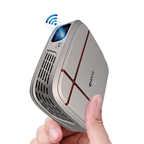Mini Pocket WiFi Projector with Bluetooth, 3300 Lumen Portable DLP Projector with Android 7.1, Support 1080P, Wireless Screen Mirroring for iOS/Android Smartphone, with TV Stick, Laptop, PC, DVD, PS4