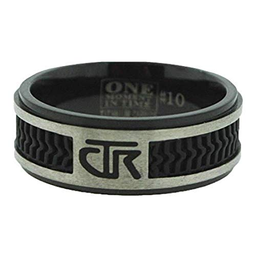 J120 Size 7 Elements Black Titanium With Rubber Inlay Handmade CTR Ring Mormon LDS Unisex One Moment In Time