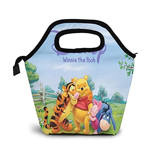 Winnie The Pooh Bolsa de almuerzo aislada, resistente al agua, a prueba de fugas, suave bolsa enfriadora para adultos y niños