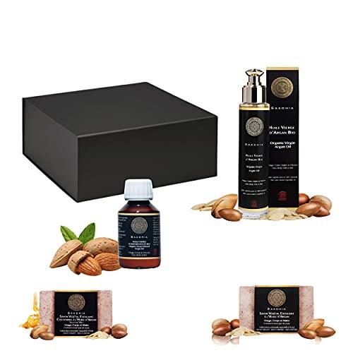 COFFRET CADEAU FEMME & FUTUR MAMAN-1 huile vierge d'Amande Douce bio|1 huile vierge d'Argan bio|2 savons naturels (2x100g)-IDEE CADEAU dans un coffret noir de luxe|0 produit chimique| Pregnant Gift