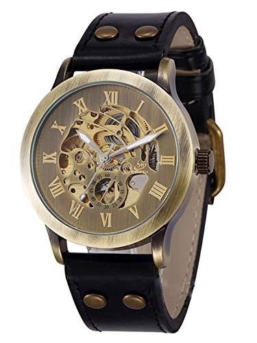 Carrie Hughes CH86 - Reloj de piel de acero inoxidable con esqueleto Steampunk para hombre