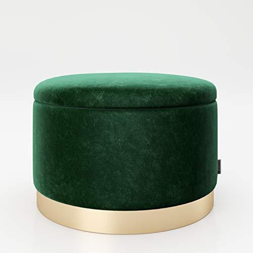 PLAYBOY runder Pouf mit Stauraum aus Samtstoff in Grün und goldenem Metallfuss, gepolsteter Sitzhocker mit Samtbezug, Sitz-und Aufbewahrungsbox aus Samt, Hocker, Retro-Design, Club-Stil