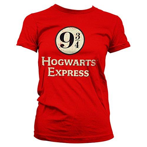 HARRY POTTER Oficialmente Licenciado Hogwarts Express Platform 9-3/4 Mujer Camiseta (Rojo), Small