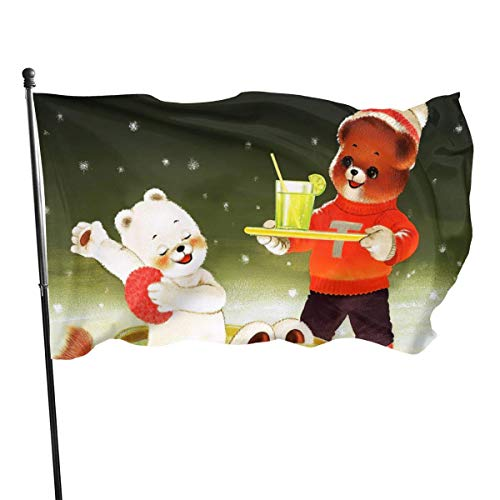 LL-Shop Christmas Cute Bear Snowflake Squirrel Flags 3x5 Foot Polyester Banner Flags 3x5 Ft