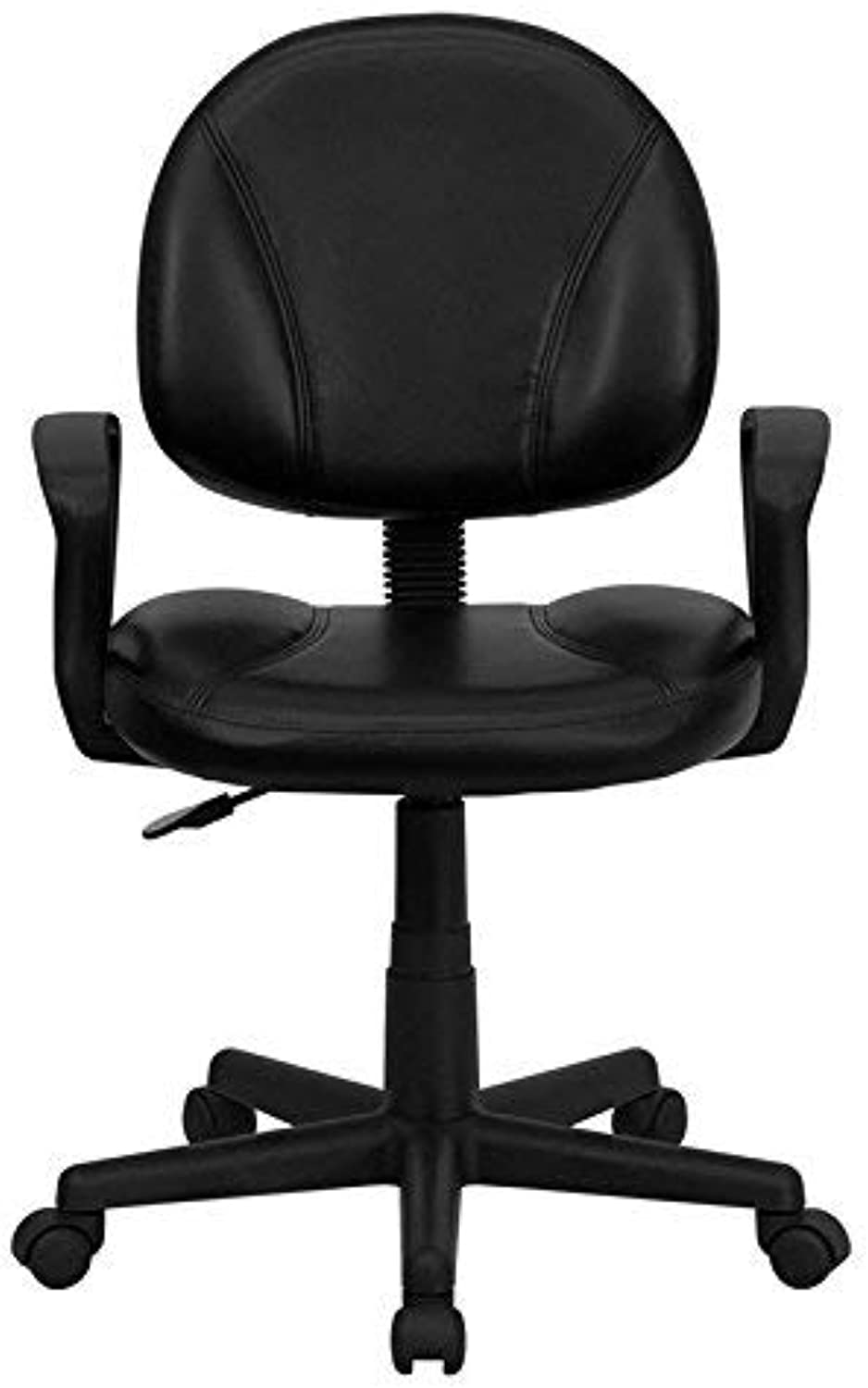 Flash Furniture Mid-Back Black Leather Ergonomic Swivel Task Chair with Arms