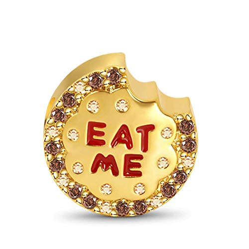 GNOCE Cheese Charm Bead Sterling Silver 18k Gold Plated'Eat Me' Charm inlaid with Stones Fit Bracelet/Necklace For Women Girls Wife Daughter
