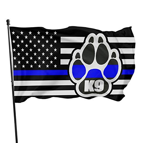 Amecke Police K-9 Thin Blue Line USA Flag 3x5 Foot Flag Outdoor Flags 100% Single-Layer Translucent Polyester 3x5 Ft
