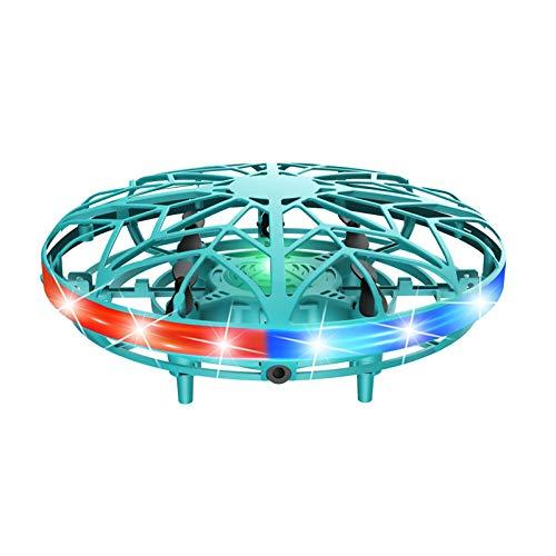 HshDUti Mini Drohne Handbetätigt Fliegender Spielzeug, 360°Rotierenden UFO Helikopter mit Infrarotsensor-Fernbedienung, Geschenke für Erwachsene Kinder (Grün)