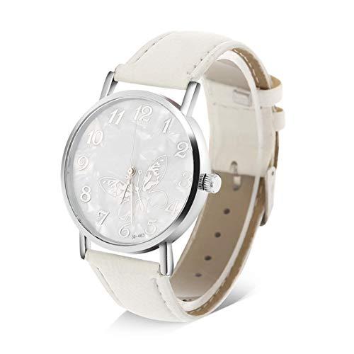 Reloj analógico femenino, elegante reloj de cuarzo para mujer, con correa de cuero PU, placa de esfera con forma de mariposa, reloj de pulsera femenino, para mujer, novia, madre(Blanco)