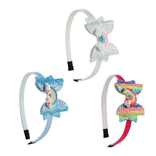Minkissy Pailletten-Schleifen-Haarband, Glitzer-Haarreifen mit Regenbogen-Schleife, Knoten, Zähne, Kunststoff-Haarbänder für Kinder, Mädchen, 3 Stück (Muster 2)