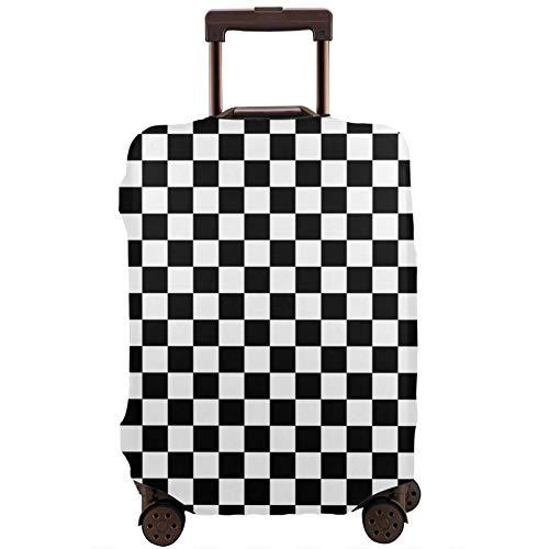 Teery-YY Funda protectora para equipaje de viaje con diseño de bandera a cuadros, color negro y blanco