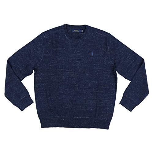 Polo Ralph Lauren Mens Crew Neck Pullover Sweater (Medium, Navy Heather)