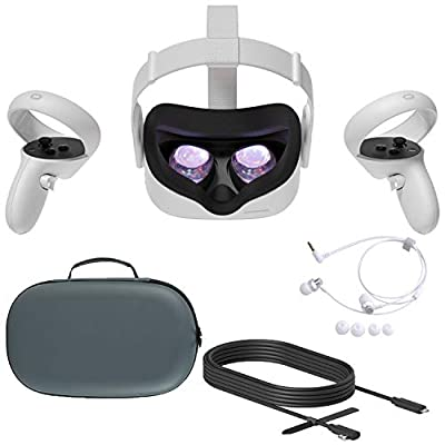 2020 Oculus Quest 2 All-In-One VR Headset, Touch Controllers, 256GB SSD, 1832x1920 up to 90 Hz Refresh Rate LCD, Glasses Compitble, 3D Audio, Mytrix Carrying Case, Earphone, Oculus Link Cable (3M)