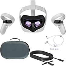 2020 Oculus Quest 2 All-In-One PC VR Virtual Reality Headset 256GB Christmas Holiday Family Bundle, Mytrix Carrying Case for Portable Protection, 10FT Link Cable, Stereo Earphones Bundle