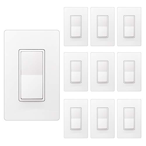 [10 Pack] BESTTEN Single Pole Decorator Wall Light Switch with Screwless Wallplate, 15A 120/277V, On/Off Paddle Rocker Interrupter, UL Listed, White