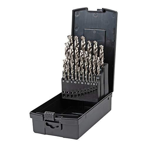 STIER Spiralbohrer Set HSS-Co8 / HSS-E, 25-teilig, Premium Metallbohrer Satz, Stahlbohrer Satz, geschliffen, zylinderischer Schaft, Cobalt Gehalt von 8%, DIN 338
