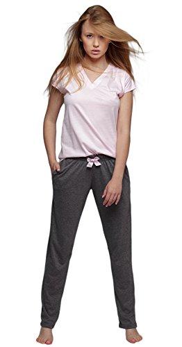 S& SENSIS SENSIS stillvoller Baumwoll-Pyjama (Made in EU) Schlafanzug Hausanzug aus feinem T-Shirt und bequemer Hose, Gr. L (40), Rosa mit Kutzarm Shirt