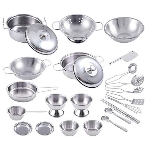 BENGKUI 25Pcs Edelstahl Kinderhaus Küchenspielzeug Kinder Rollenspiel Kochgeschirr Kochspiel Silber