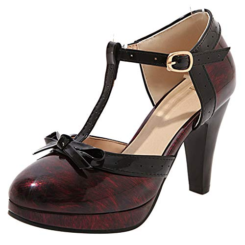 Mediffen Mujer Tacón Alto Fiesta T Strap Plataforma Sandalias con Lazos Elegante Boda Correa De Tobillo Hebilla Vestido Zapatos Vino Rojo Talla 37 EU/38Asiática