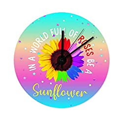ChengMaR Retro in a World Full of Roses be a Sunflower 2 Silent & Non-Ticking Wooden Wall Clock Office DecorationClock White 12x12 inch