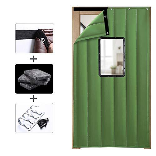 TCYLZ dikker deurgordijn, geluiddichte isolatie katoen gordijn botsing preventie raam, PU lederen oppervlak + zijde katoen, winddicht en warm, geschikt voor gezinnen, supermarkt