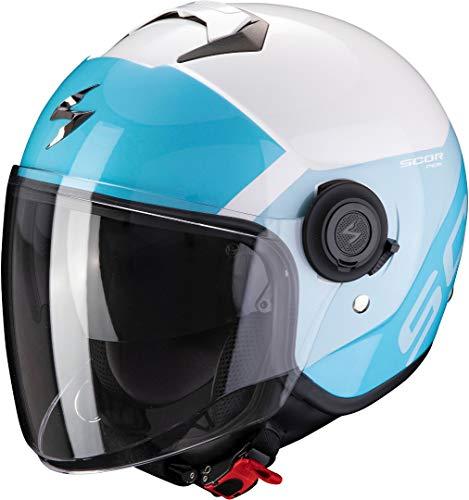 Scorpion Casco de moto EXO-CITY SYMPA White-Light Blue, Blanco/Azul, M (83-327-270-04)